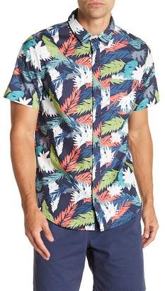 Public Opinion Short Sleeve Leaf Palm Print Regular Fit Woven Shirt