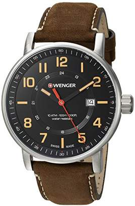 Wenger Men's 'Attitude Outdoor' Swiss Quartz Stainless Steel and Leather Casual Watch