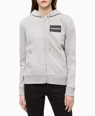 Calvin Klein womens Institutional Zip-Up Hooded Sweatshirt