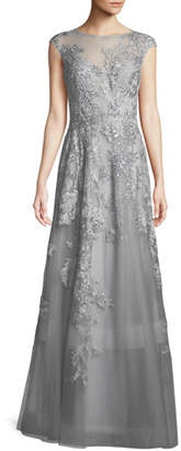 Rickie Freeman For Teri Jon Tulle Illusion Gown w/ Crystal & Lace Embroidery