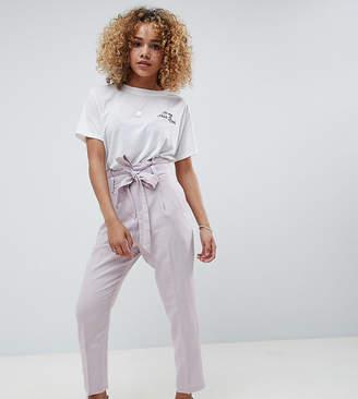 Asos DESIGN Petite tailored casual tie waist linen peg pants