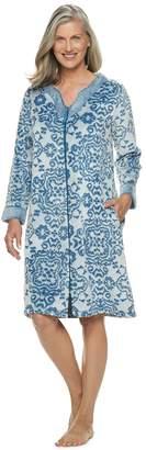 Croft & Barrow Women's Paisley Plush Zip Robe
