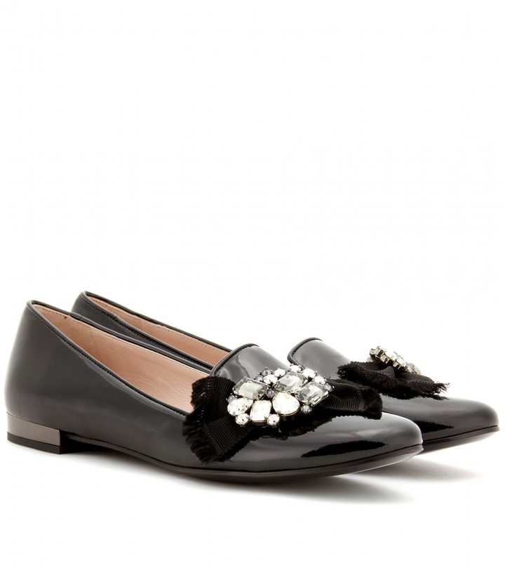 Miu Miu CRYSTAL-EMBELLISHED PATENT LEATHER LOAFERS