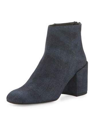 Stuart Weitzman Bacari Denim Chunky-Heel Bootie, Navy Antique Denim $535 thestylecure.com