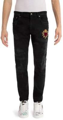 Dolce & Gabbana Distressed Heart Skinny Jeans