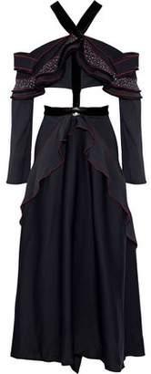 Proenza Schouler Off-The-Shoulder Cutout Ruffled Woven Maxi Dress
