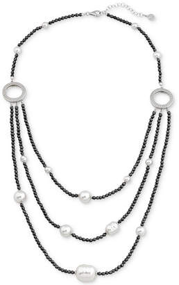 Majorica Two-Tone Sterling Silver Imitation Pearl Multi-Row Necklace