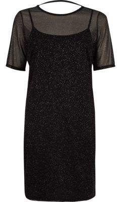 River Island Womens Black glitter mesh T-shirt dress