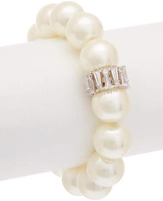 Carolee Pearl Premier Cz Stretch Bracelet