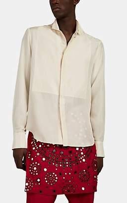 Wales Bonner Men's Silk Satin Wing-Collar Shirt - White