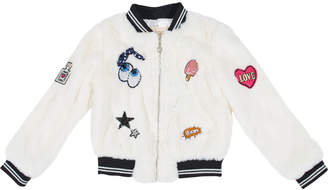Hannah Banana Faux-Fur Bomber Jacket w/ Assorted Patches, Size 7-14