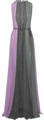 Lela Rose Color-block Gingham Silk-chiffon Gown