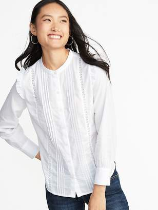 Old Navy Ruffled-Shoulder Lace-Trim Shirt for Women