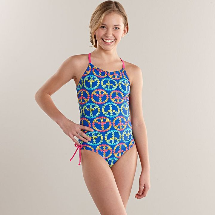 So® peace sign one-piece swimsuit