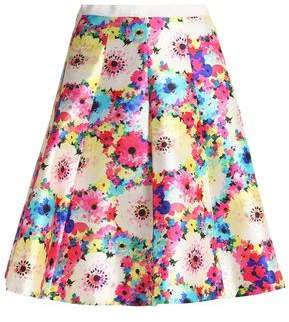 Oscar de la Renta Pleated Floral-Print Silk And Cotton-Blend Faille Skirt