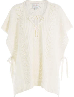 Claudia Schiffer Wool-Cashmere Poncho with Lacing