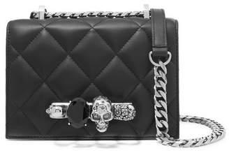 Alexander McQueen Jewelled Satchel Small Embellished Quilted Leather Shoulder Bag - Black