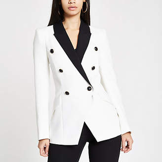River Island White double breasted contrast tux jacket