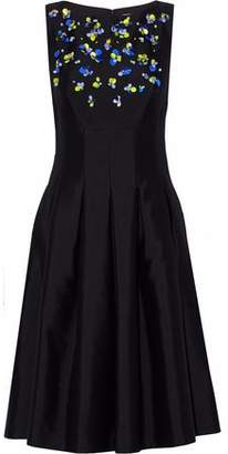 Lela Rose Pleated Embellished Wool And Silk-Blend Satin Dress