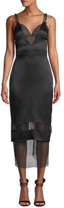 CUSHNIE Lace-Trim Deep V-Neck Slip Dress