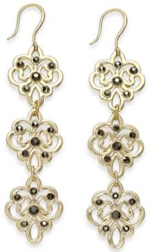 INC International Concepts I.n.c. Gold-Tone Crystal Filigree Triple Drop Earrings, Created for Macy's