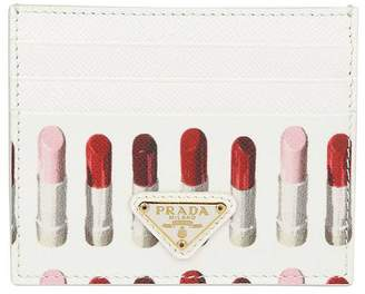 Prada Wallet Credit Card Holder In Saffiano Leather With Applications By And All-over Lipstick Print