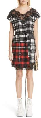 Marc Jacobs Lace Trim Plaid Silk Dress