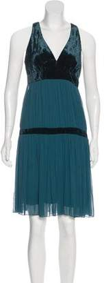 ABS by Allen Schwartz Velvet-Trimmed Knee-Length Dress
