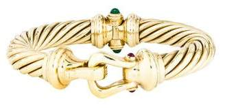 David Yurman 14K Emerald & Ruby Cable Buckle Bangle
