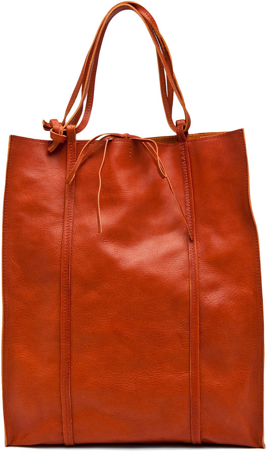 Maison Martin Margiela Washed Leather Tote in Hay