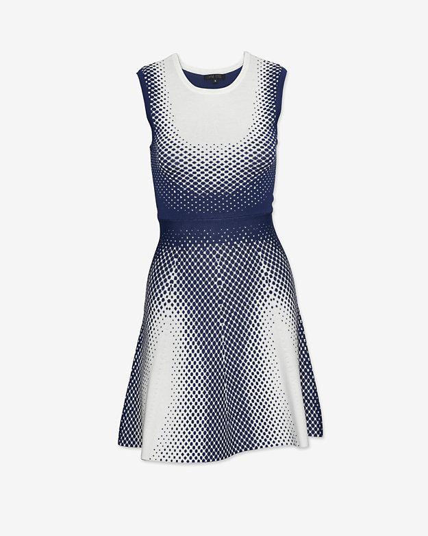 Ohne Titel Dot Print Jacquard Flare Dress: White/Navy