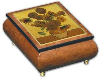 Ercolano MusicBoxAttic Beautiful Sunflowers Theme Inlaid Art Musical Jewelry Box, Music Selection - Down By the Riverside - SWISS