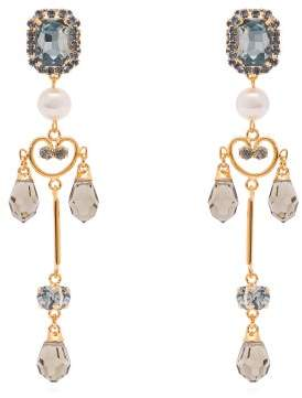 Erdem Crystal Embellished And Pearl Drop Lace Earrings - Womens - Blue