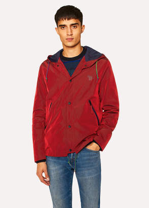 Paul Smith Men's Red Showerproof Hooded Coach Jacket With Zebra Logo