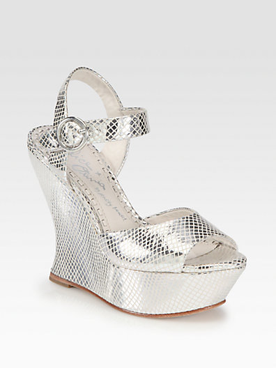 Alice + Olivia Jana Metallic Leather Wedge Sandals