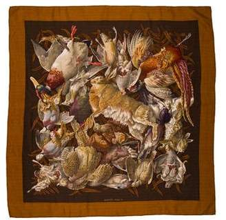 Hermes Gibiers Cashmere Silk Scarf