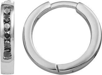 Sterling Silver 1 4 Ct T W Black Diamond Hoop Earrings