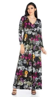 24/7 Comfort Apparel 24seven Comfort Apparel Regal Blooms Floral Long Sleeve Maxi Dress