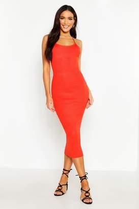 boohoo Strappy Rib Knit Midaxi Dress