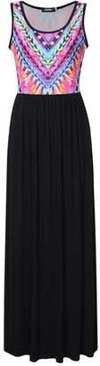 Liebeye Women Sleeveless Printed Empire Waist Casual Tank Maxi Dress S