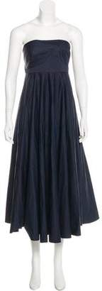Tibi Strapless Pleated Gown