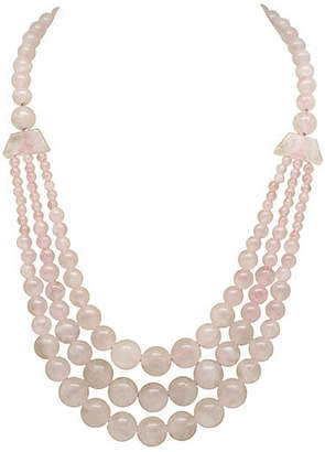 One Kings Lane Vintage Pink Quartz Swag Necklace - Thanks for the Memories