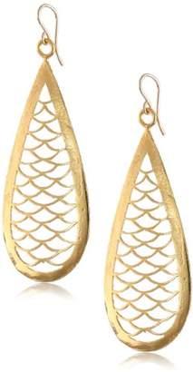 Devon Leigh Carved Yellow -Plated Bronze Teardrop Earrings