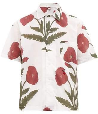 Bode - Chrysanthemum Print Cotton Canvas Shirt - Mens - White Multi