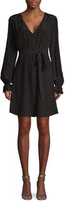 Sanctuary Dot-Print Ruffle Tie A-Line Dress