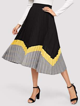 Shein Color-block Pleated Skirt