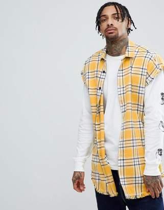 Asos DESIGN oversized sleeveless check shirt