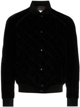 Saint Laurent velvet cotton blend teddy bomber jacket
