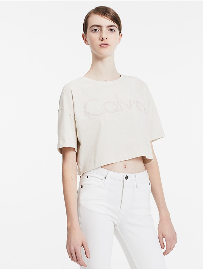 Calvin Klein Modern Surplus Split Logo Cropped T-Shirt