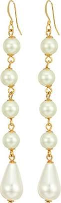 Kenneth Jay Lane Women's Gold and Cultura White 5 Drop Fishhook Earrings